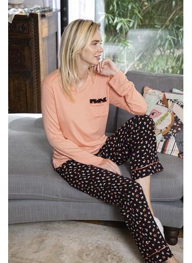 Aydoğan Kadın Poplin Altı Desenli Üstü Düz Pijama Takımı Renkli